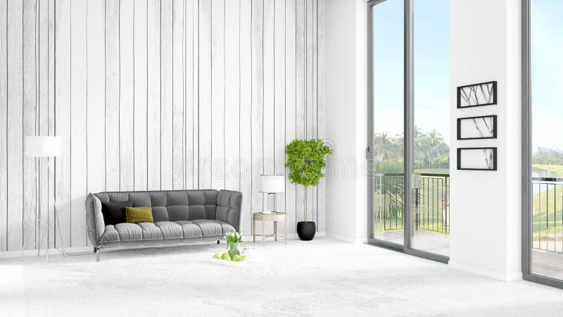 全新的白色与copyspace墙壁的顶楼卧室最小的样式在窗口外面的室内设计和看法 3d翻译 向量例证