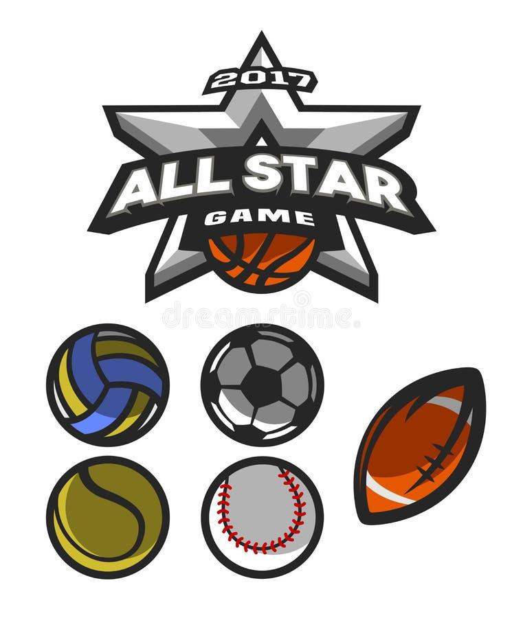 全明星比赛,商标,象征 向量例证