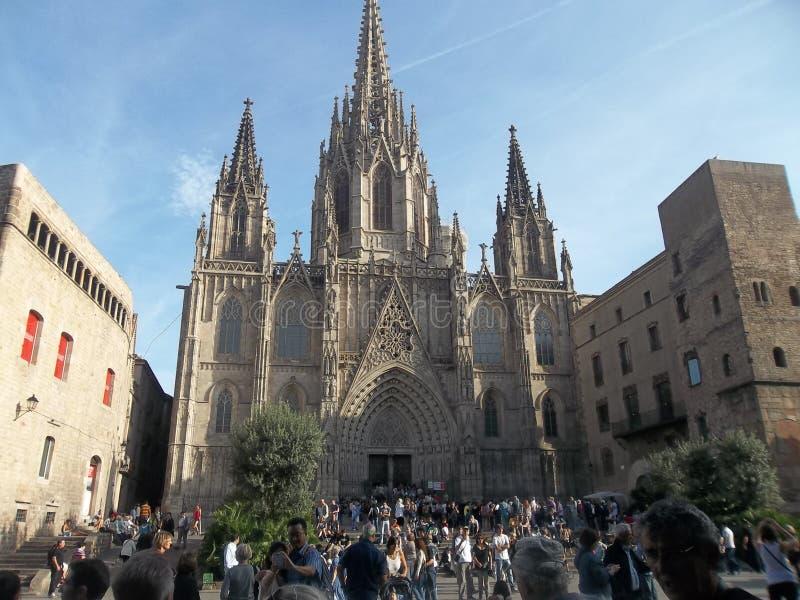 全景。一个大教堂。巴塞罗那 免版税图库摄影