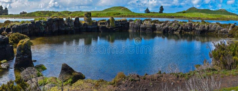 全景与云彩的水路蓝天 库存图片