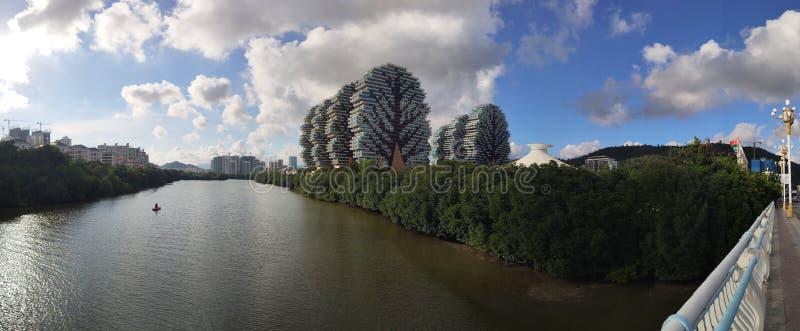 全景与旅馆大厦秀丽冠的市中心 免版税图库摄影