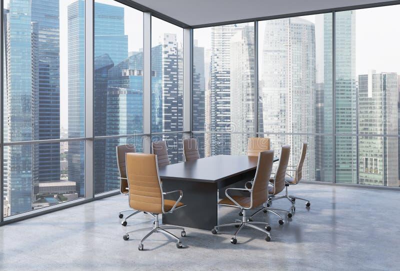 全景会议室在现代办公室在新加坡 布朗椅子和一张黑桌 皇族释放例证