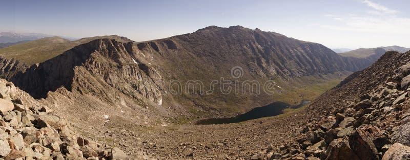 全景俯视在Mt之间 伊万斯& Mt Bierstadt,科罗拉多,美国 库存图片
