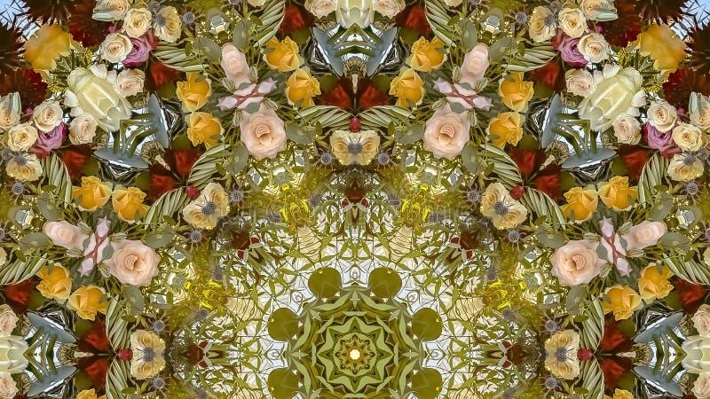 全景减弱在的颜色的声音在圆安排的花在婚礼在加利福尼亚 库存图片