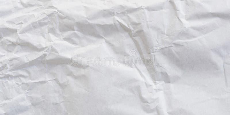 全景压皱纸白色纹理和背景 免版税库存图片