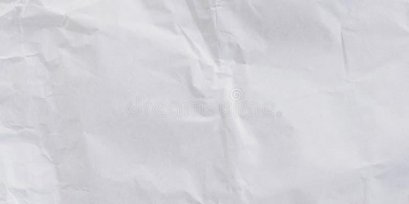 全景压皱纸白色纹理和背景 库存图片