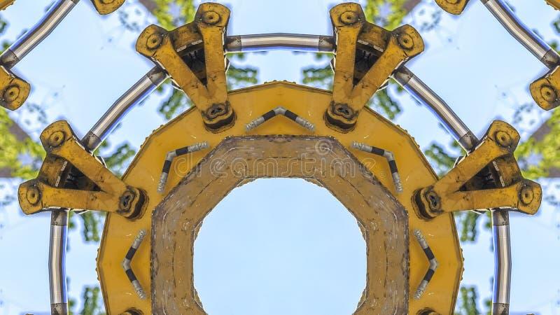 全景圆拖拉机象征用在照片的一个部分做了 库存例证