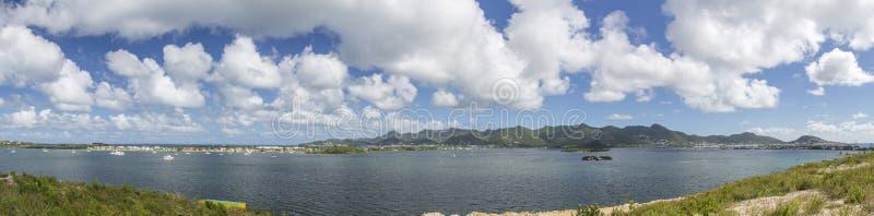 全景圣马丁,荷属圣马丁:加勒比海滩 免版税库存照片