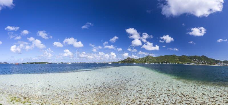 全景圣马丁,荷属圣马丁:加勒比海滩 免版税库存图片