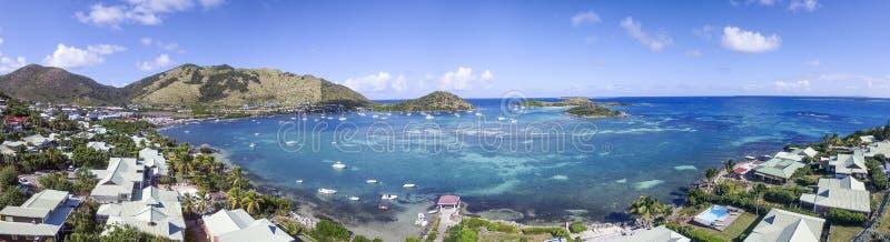 全景圣马丁,荷属圣马丁:加勒比海滩 免版税图库摄影