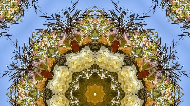全景在圆安排的无言黄色和白花在婚礼在加利福尼亚 免版税库存照片