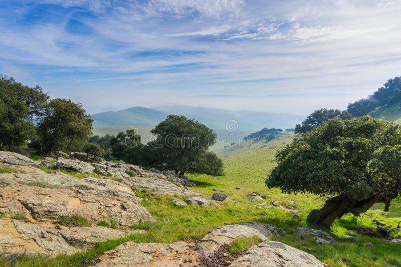 全景在如毛刷高峰地方公园在一阴天,东部旧金山湾,利弗摩尔,加利福尼亚 库存图片