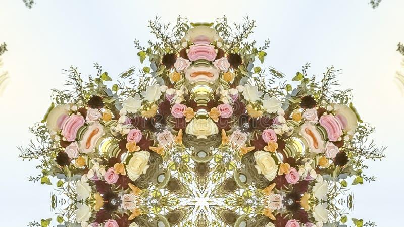 全景在婚礼的加利福尼亚花被安排入形状 向量例证