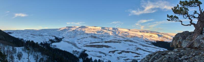 全景在日出的雪山 免版税库存照片