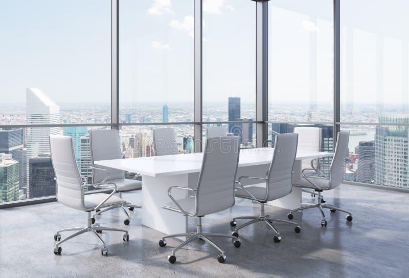 全景壁角会议室在现代办公室在纽约 白色椅子和一张白色桌 库存例证