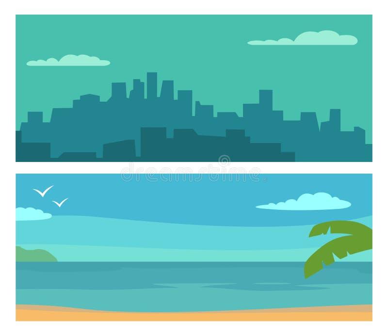 全景夜城市和日落海 传染媒介平的水平的彩色插图 向量例证