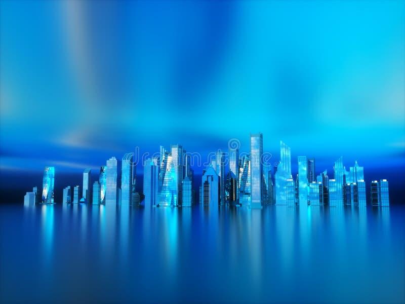 全景夜未来派城市 霓虹照明设备 免版税库存照片
