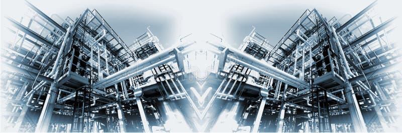 全景大油和煤气的精炼厂 免版税图库摄影
