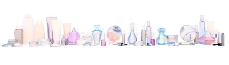 全景套构成产品和秀丽关心在wh的化妆用品 免版税库存照片