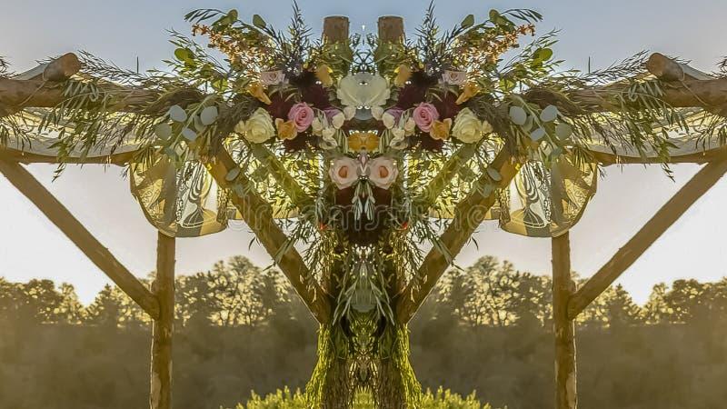 全景婚姻的装饰反射视图在日落的 皇族释放例证