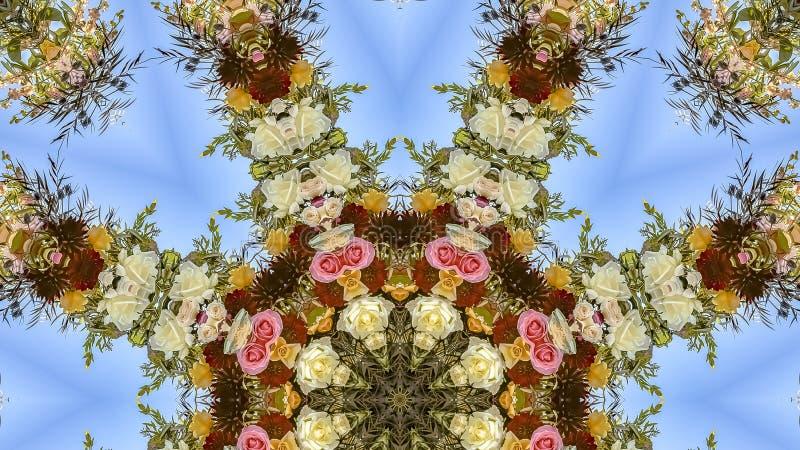 全景安排了花显示在圆安排的在婚礼在加利福尼亚 库存图片