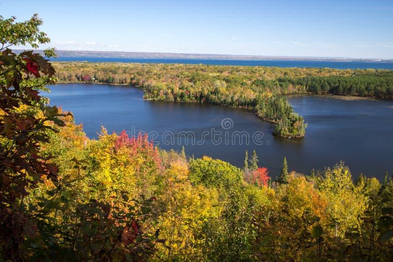 全景密执安风景的秋天俯视 库存照片