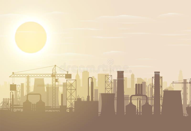 全景工业剪影风景 向量例证