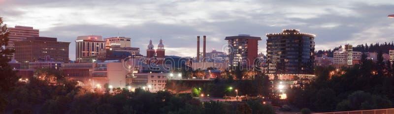 全景斯波肯华盛顿街市市地平线日出 库存图片