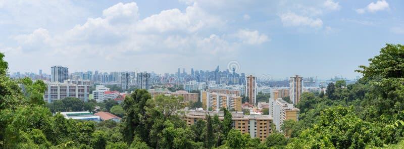 全景新加坡高层建筑物在城市 库存照片