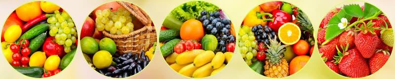 全景新鲜的水果和蔬菜在圆的框架在被弄脏的b 库存图片
