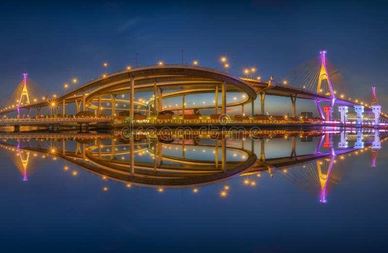 全景普密蓬桥梁,昭拍耶河桥梁 r 免版税图库摄影
