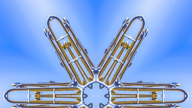 全景框架从工地工作边缘的金属射线  皇族释放例证