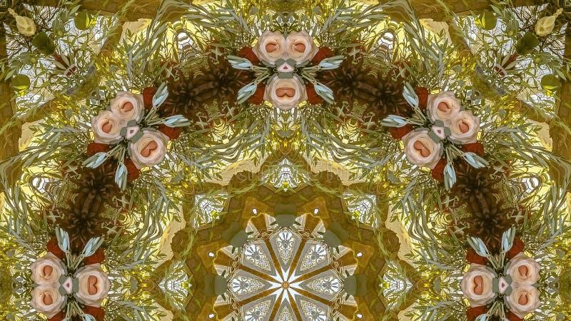 全景框架在一个圆设计的桃红色花与绿色叶子和黄色日落颜色 图库摄影