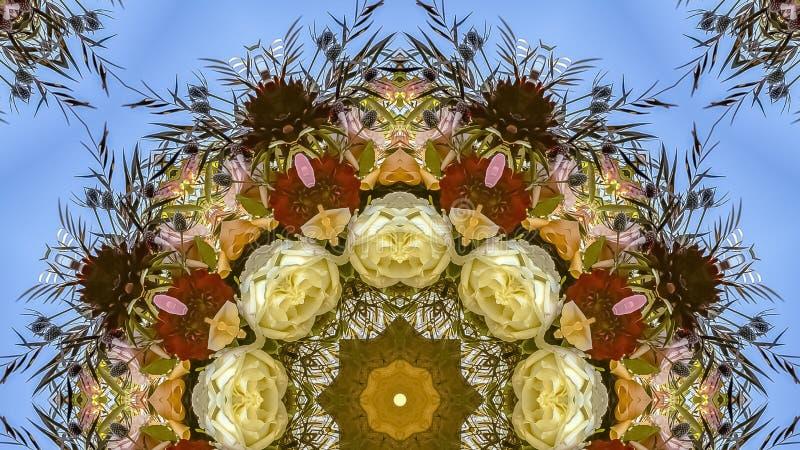 全景框架在圆安排的生动的五颜六色的白色和红色花在婚礼在加利福尼亚 库存照片
