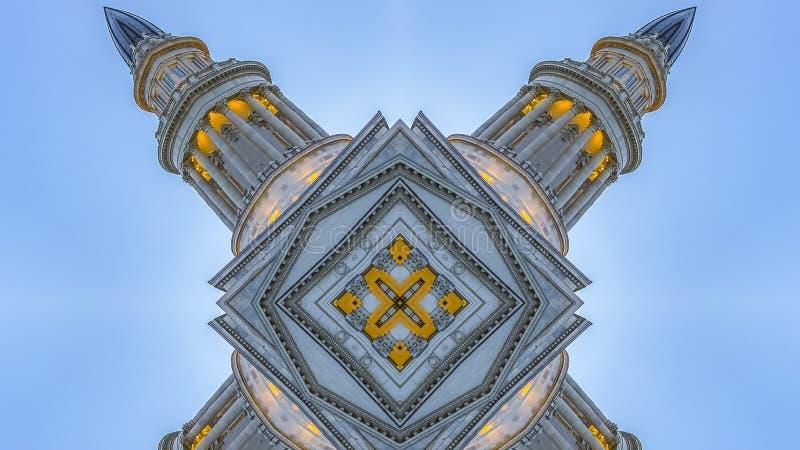 全景框架摘要指向了用资本大厦做的形状 向量例证