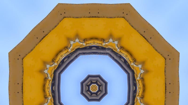 全景框架由黄色拖拉机胳膊做的摘要emlem 皇族释放例证