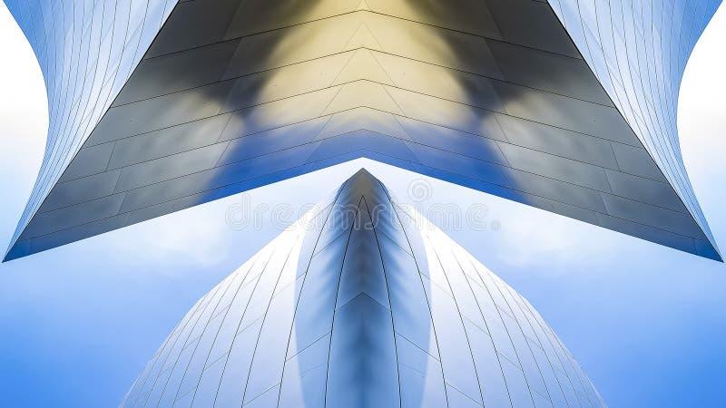 全景框架音乐厅金属反射性曲线洛杉矶 图库摄影