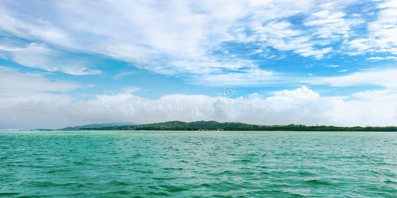 全景没有在多巴哥印度西部热带海岛人土地 免版税库存照片