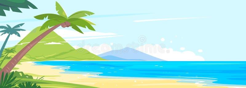 全景海滩热带海岛 向量例证