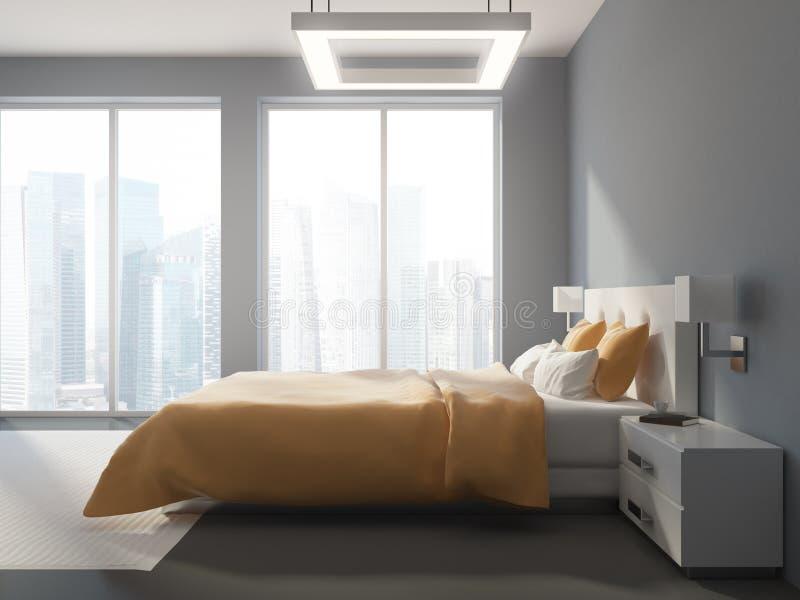 全景灰色卧室内部的侧视图 库存例证