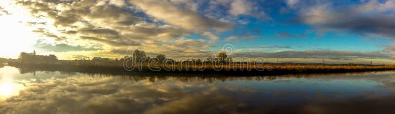 全景特伦特的河 库存照片