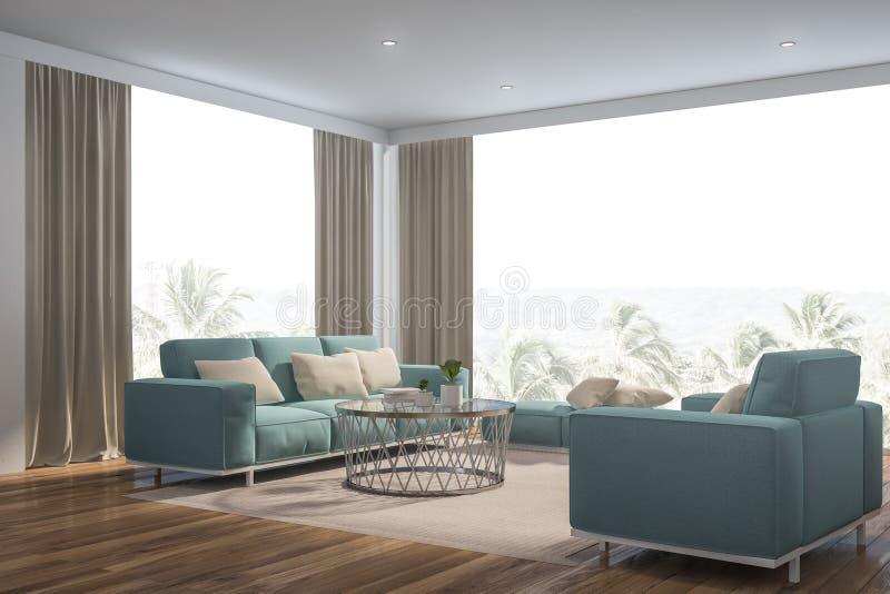 全景白色客厅角落,蓝色沙发 库存例证