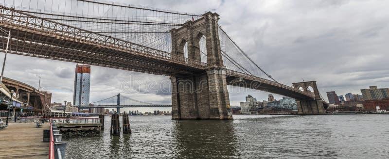 全景的布鲁克林大桥 免版税图库摄影
