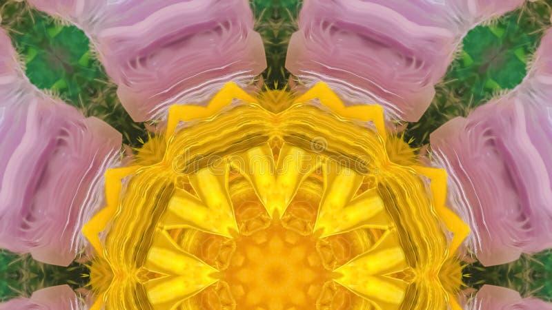 全景紫色数字花的黄色中心 免版税库存图片