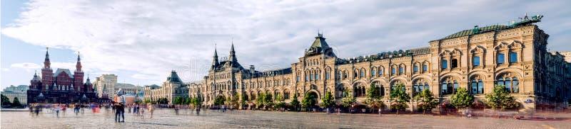 全景红场、历史博物馆和胶在莫斯科,俄罗斯 免版税库存图片