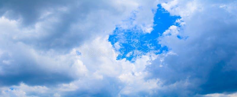 全景蓝天云彩 并且在夏时美好的背景中雨云  免版税库存图片