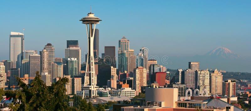 全景西雅图地平线 图库摄影