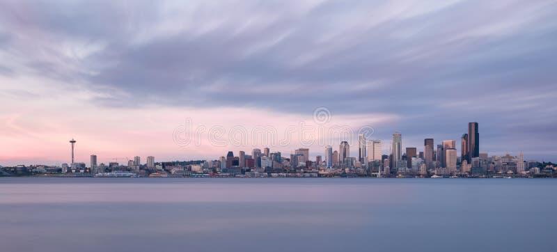 全景西雅图的地平线 库存照片