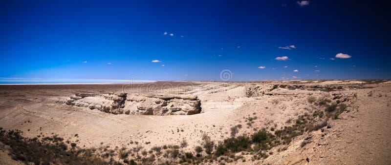 全景视图向盐Barsa Kelmes湖和乌斯秋尔特高原在卡拉卡尔帕克斯坦自治共和国,乌兹别克斯坦 图库摄影