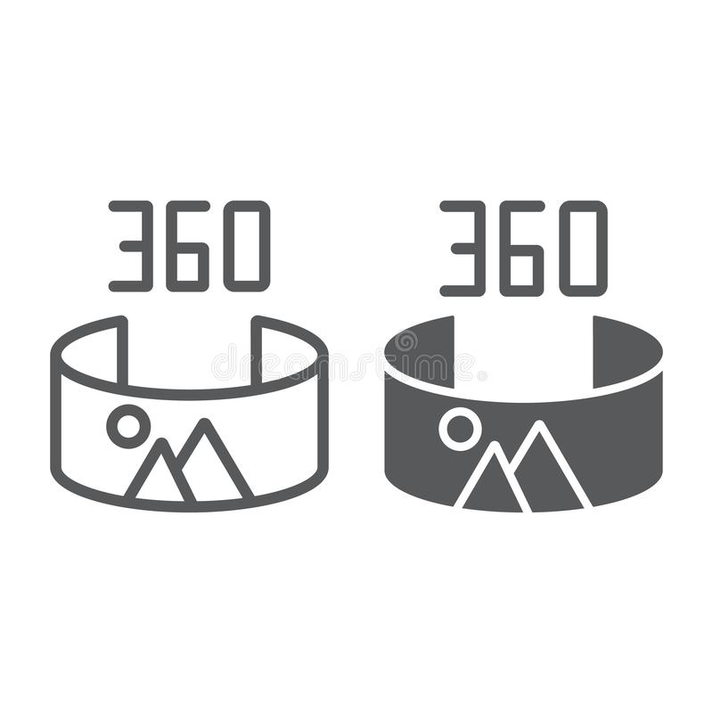 全景视图线和纵的沟纹象,全景和自转,360度标志,向量图形,在白色的一个线性样式 库存例证